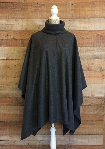 Fleece Poncho Shawl Wrap Large Misses 16-18 Turtleneck Collar Topstitched Charcoal Gray 4 Colors Handmade