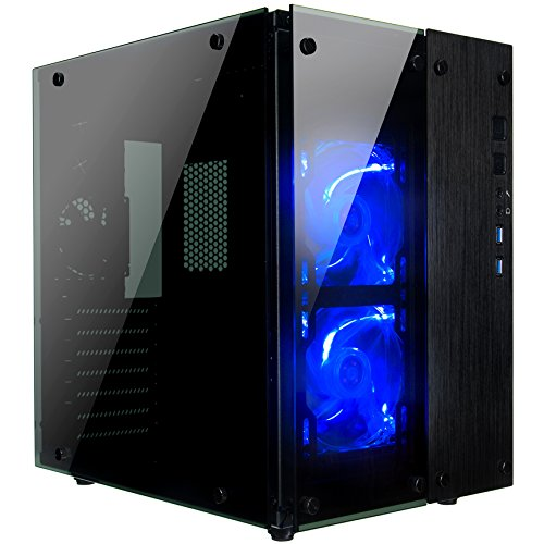 Rosewill Gaming ATX Mid Tower Cube Case, Tempered Glass Full Window Desktop PC Computer Small Form Case, Blue LED Lighting Fans, USB 3.0, 240mm Water Cooler Support, 3 Fans Pre-Installed (Best Looking Pc Cases)