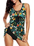 Plus Size Women Swimsuits One Piece Bathing Suits Tummy Control Swimming Dress Womens Athletic Mesh Mix-Floral 18-20