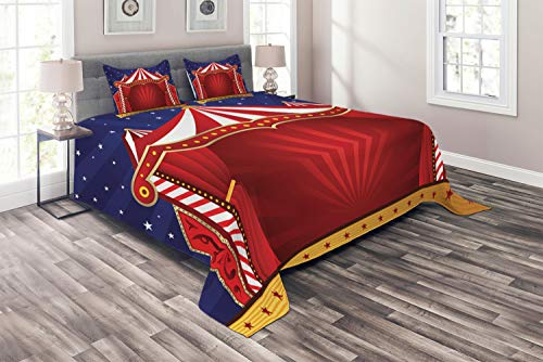 - Ambesonne Circus Coverlet Set Queen Size, Canvas Tent Circus Stage Performing Theater Jokes Clown Cheerful Night Theme, 3 Piece Decorative Quilted Bedspread with 2 Pillow Shams, Blue Vermilion