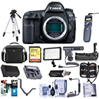 Canon EOS 5D Mark IV Digital SLR Camera Body USA Warranty - Bundle with 64GB U3 SDXC Card, Camera Case, Tripod, Spare Battery, Battery Grip, Video Light, Shotgun Mic Software Package and More