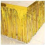 ShinyBeauty 29x108-Inch-Foil Fringe Table Skirt,Tinsel Table Skirt,Metallic Party Table Skirt (Pack of 10, Gold)
