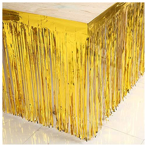 ShinyBeauty 29x108-Inch-Foil Fringe Table Skirt,Tinsel Table Skirt,Gold Metallic Party Table Skirt -