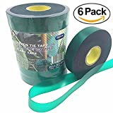 Ugold Stretch Tie Tape Plant Ribbon Garden Green Vinyl Stake - 0.96'' x 150 Ft x 6 Pcs