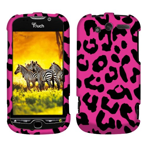 Leopard Hot Pink 2D Texture Faceplate Hard Plastic Protector Snap-On Cover Case For HTC myTouch ()