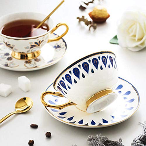 (ACOOME Tea Cup and Saucer Set-6.8oz Bone China Teacup Fine Dining and Table Decor (Blue))
