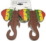 BUNFIREs Rasta Elephant Wood Earring Light Wood Woman Earrings African Elephant Wooden Shape Jewelry Gift (Rasta Elephant)