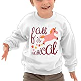 Puppylol Fall Is Magical Peach Unicorn Kids Classic Crew-neck Pullover Hoodie White