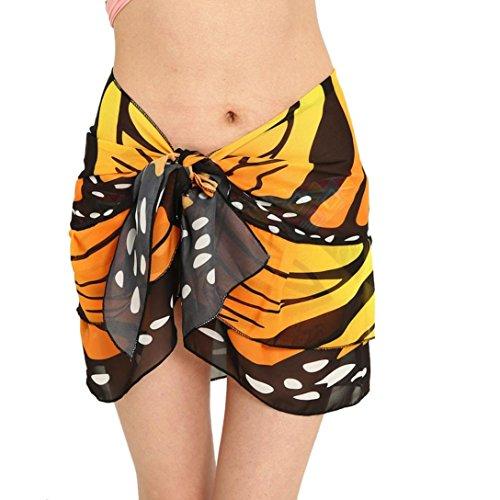Elogoog Cover up Skirt, Womens Chiffon Butterfly Print Shawl Soft Beach Sarong Wrap Bikini Swimwear ()