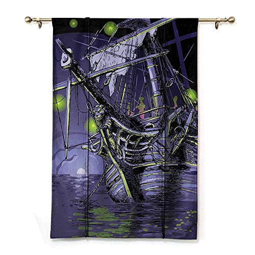 Insulated Blackout Blinds Pirate Ship Ghost Ship on Fantasy Caribbean Ocean Adventure Island Haunted Vessel Durable W36 xL72 Purple Lime Green