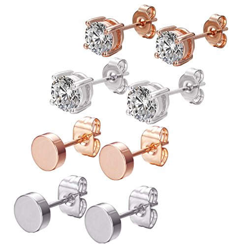 4 Pairs CZ Stud Earrings Set - Womens Gold Plated Disc Earrings with Swarovski Elements 6mm