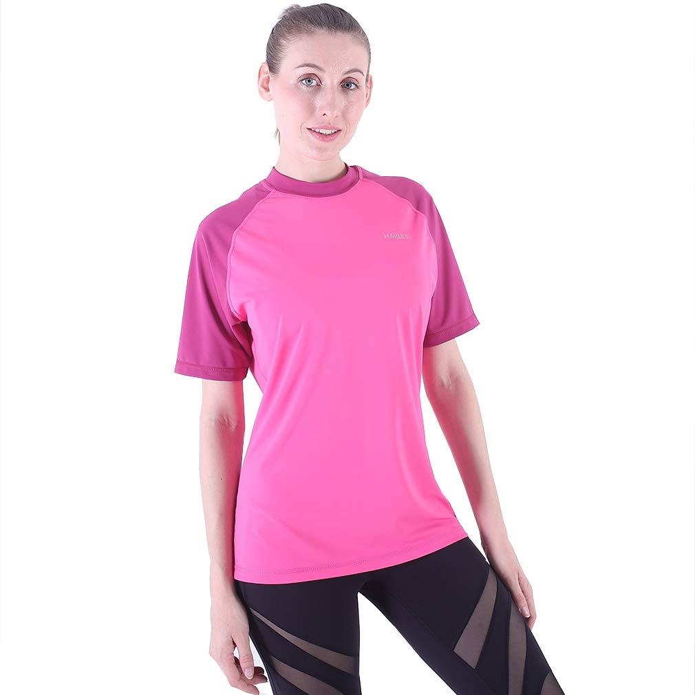 VICROAD-UK Donna Top Manica Corta da Surf Manica Corta UPF 50+ Rash Guard 180801M035-berry/shocking pink-L