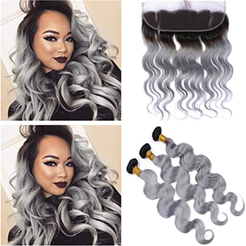 Tony Beauty Hair #1B/Grey Ombre Virgin Peruvian Human Hair Bundles Deals 3Pcs with Ear to Ear Frontal 4Pcs Lot Body Wave Ombre Silver Gray 13x4 Lace Frontal Closure with Weaves ()