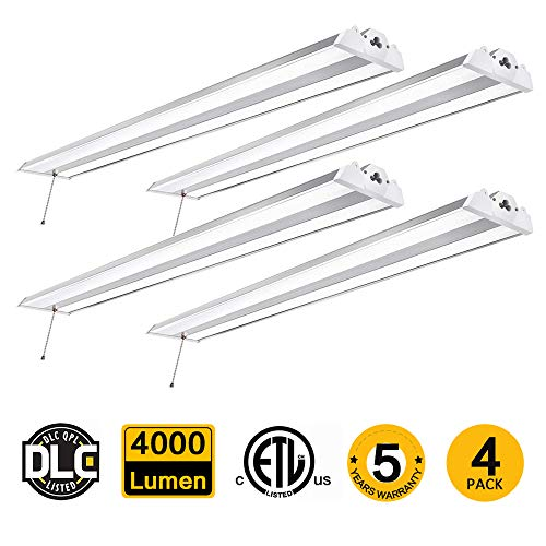 4 Pack 4FT Linkable LED Shop Light with Cord, 40W CREE LED 4000 Lumen Super Bright Hanging or Flush Mount Garage Utility Light, 5000K,150W Fluorescent Fixture Replacement