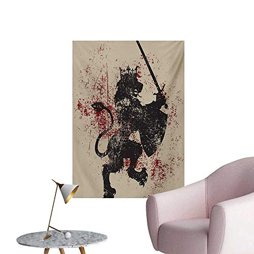 Anzhutwelve King Art Decor Decals Stickers Fantasy Lion Symbol of Courage with Armor and Shield on Grunge BackdropBlack White and Burgundy W24 xL36 Custom Poster