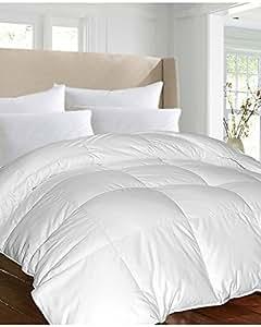 Elliz All Season Extra Warmth White Down Comforter 100% Cotton 600 Fill Power, King Size, White