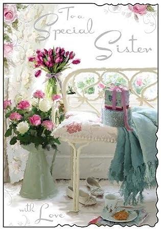 Sister Flowers Birthday Card JJ8368