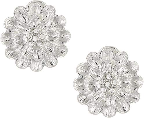 Napier Silver Flower Button Clip Earrings, 0