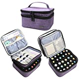 essential oil bottle holder - LUXJA Essential Oil Carrying Case - Holds 30 Bottles (5ml-30ml, Including Roller Bottles), Double-Layer Organizer for Essential Oil and Accessories, Purple