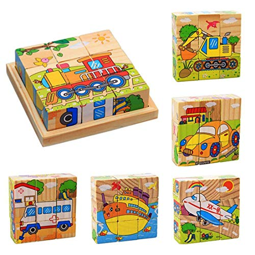 ZDYWY 9 Piece Wooden Jigsaw Blocks 3D Cube Puzzle Toy for Kids Children Boys Girls – Steamship Ship Boat Tractor Aircraft Airplane Excavator Car Ambulance
