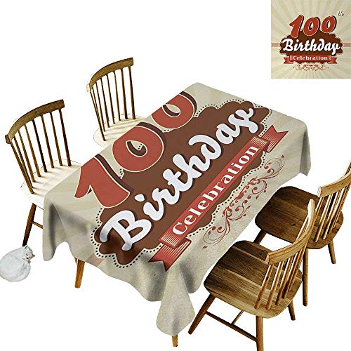 100th Birthday Anti-wrinkle and anti-wrinkle polyester long tablecloth Chocolate Wrap Like Brown Party Invitation Hundred Years Celebration For weddings/banquets W60 x L102 Inch Cinnamon and Cream ()