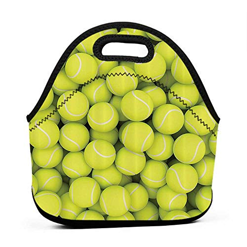 Removable Shoulder Strap Sports Decor Collection,Heap of Tennis Balls Hobby Happiness Leisure Competitive Match Lifestyle Picture Pattern,Yellowgreen,bunny lunch bag for adults
