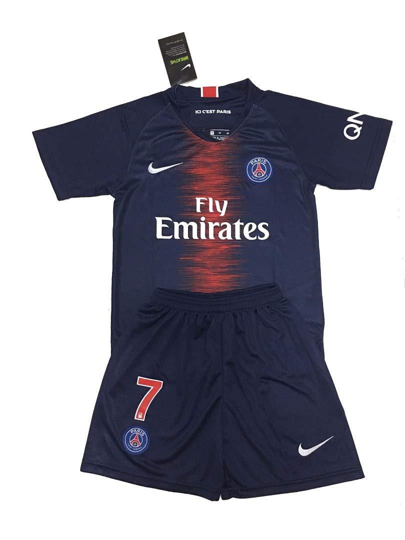 sports shoes f3fef fe056 Paris Saint-Germain 7 Kylian Mbappé 2018-19 Home Youths Football Soccer  Kids Jersey & Short