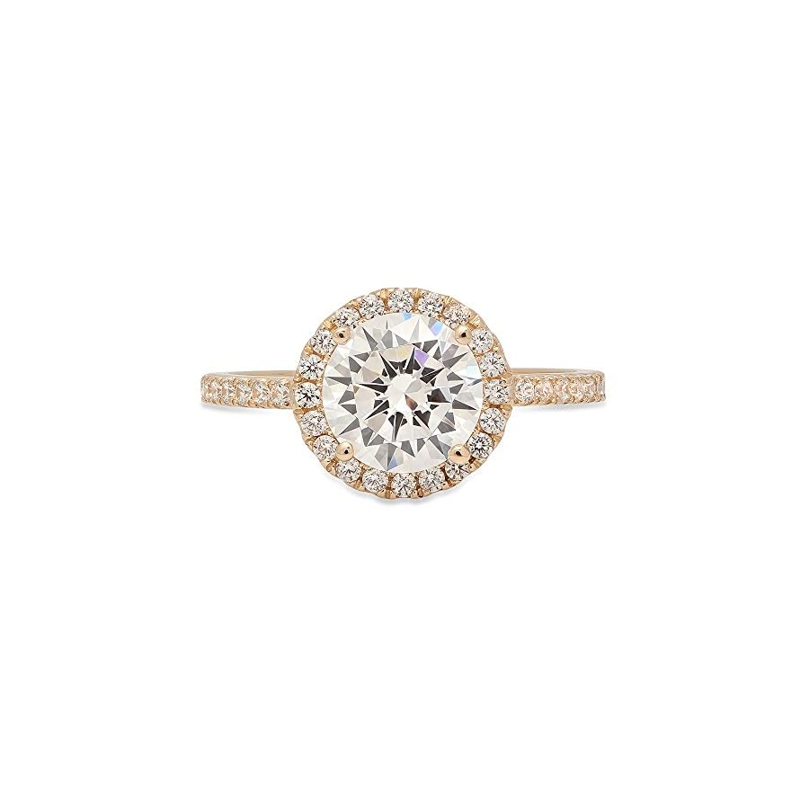 2.05ct Round Cut Halo Solitaire Wedding Anniversary Promise Engagement Ring Bridal band 14k Yellow Gold, Clara Pucci
