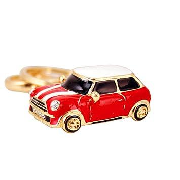 VORCOOL Llavero Cristal Modelo de Mini Cooper Llavero Metal Colgante de Bolso de Mujer Rojo
