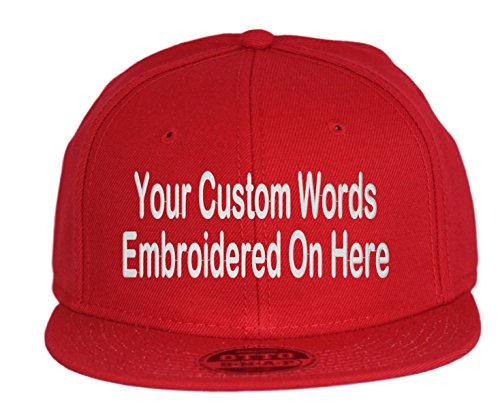 (Custom Snapback Hat. Otto. Embroidered. Your Own Text Flatbill Bill Snapback. (Red))