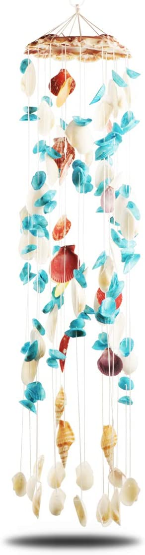 Jangostor Seashell Wind Chimes Multi Color Handmade Wind Chimes, for Garden Bar Store Hanging Ornament Home Decor Beach Decoration Party Gift (6.7 x 29 Inches)