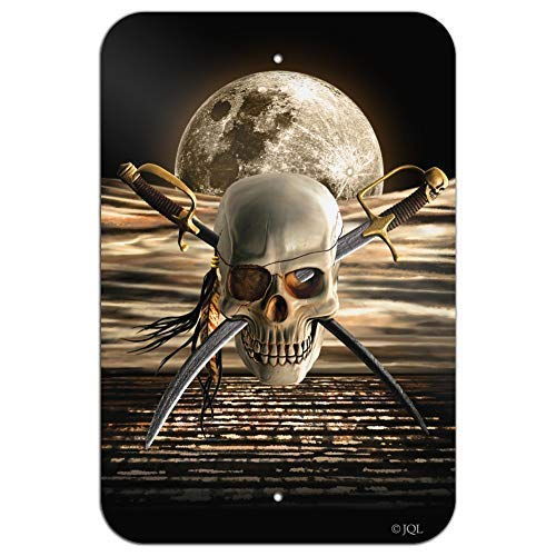- Vincenicy Metal Sign Great Aluminum Tin Sign Pirate Skull Crossed Swords Cutlasses Ocean Moon Home Business Office Metal Sign 8 X 12 Inch