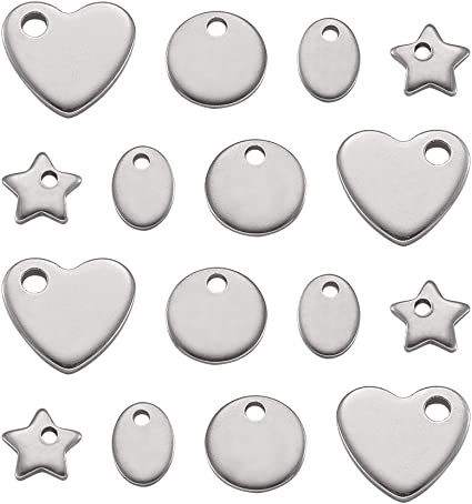 Pandahall 20pcs 304 Stainless Steel Mixed Shape Blank Tag Pendants for DIY Jewelry Making Round//Oval//Heart//Star Tiny Charms Hypoallergenic Bracelets Dangle Beads Accessories Finding Supplies