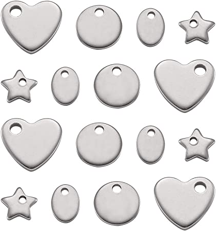 20pcs Tibetan Silver Alloy Tag Pendants Oval Stamping Blanks Tiny Charms 10x8mm