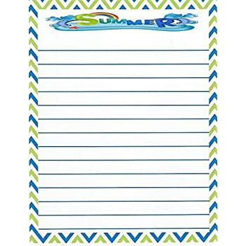 amazon com kids camp summer lined stationery paper 26 sheets baby