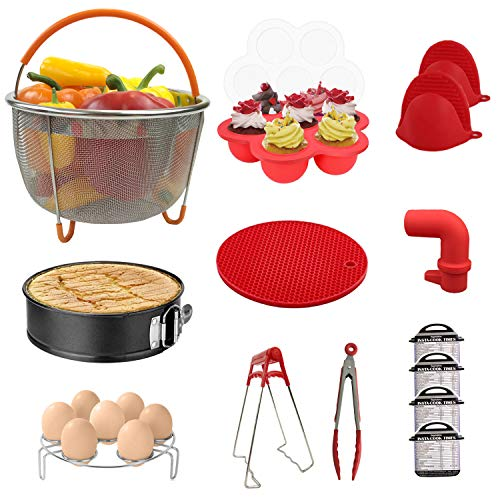 (Sericea Instant Pot Accessories 14Pcs Set, Steamer Basket, Cheat Sheet Magnets, Mitts, Kitchen Tongs, Silicone Mat, Spring Form Pan, Egg Rack, Compatible with 5,6,8Qt Instant Pots and Pressure Cookers)