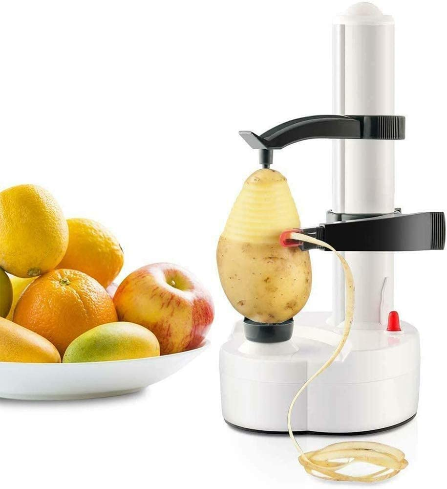 TOPCHANCES Multifunctional Automatic Electric Potato Peeler Automatic Rotating Fruits Vegetables Cutter Kitchen Peeling Tool for Fruit Vegetables Battery Powered (White)