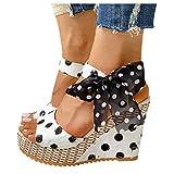 Dainzuy Womens Wedge Sandals Ladies Espadrille Platform Open Toe Lace Up Ankle Wrap Summer Dot Sandals Shoes White