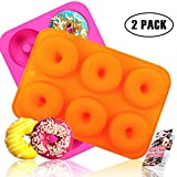 HEHALI 2pcs 6-Cavity Silicone Donut Baking Pan/Non-Stick Donut Mold with Recipe, Dishwasher, Oven, Microwave, Freezer Safe
