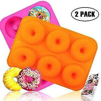 HEHALI Silicone Donut Pan, 2pcs Non-Stick Mold, Silicone Donut Mold for 6 Full-Size Donuts, Bagels and More