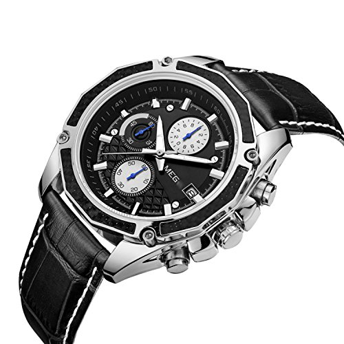 Analog Chronograph Watch (MEGIR Mens Analog Quartz Wrist Watches Fashion Military Pilot Multifunction Leather Chronograph Wristwatch,Luminous Waterproof Casual Business Office Work School Sport Watch for Men Gifts)