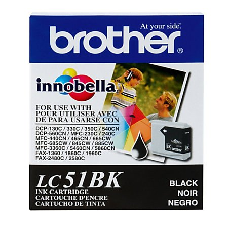 Lc51bk Black Ink - BROTHER BR MFC-240C, 1-SD YLD BLACK INK LC51BK by BROTHER