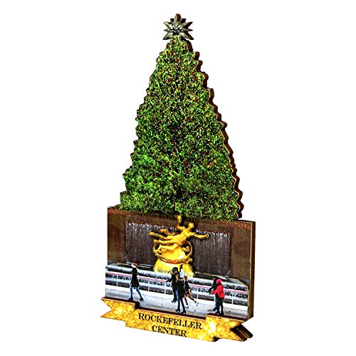 Rockefeller Center Christmas Tree Magnet Made of Layered Wood 4.25 Inches Tall ()