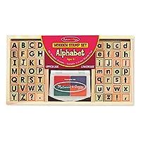 """Conjunto de sellos alfabéticos Melissa y Doug, sellos en minúsculas y mayúsculas, 4 colores, 56 sellos, 1.5 """"H × 6.5"""" W × 12 """"L"""