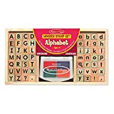 """Melissa & Doug Alphabet Stamp Set, Stamps with Lower-Case and Capital Letters, 4 Colors, 56-Stamps, 1.5"""" H × 6.5"""" W × 12"""" L"""