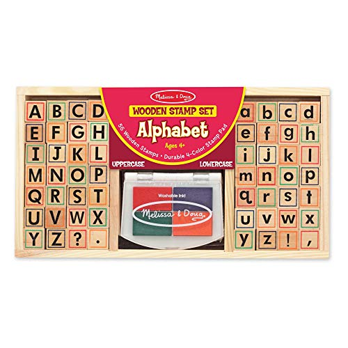 Melissa & Doug Alphabet Stamp Set (Stamps with Lower-Case and Capital Letters, 4 Colors, 56-Stamps)