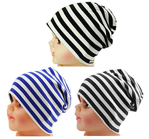 JAKY Global Cotton Kids Beanie Hat for Cute Baby Boy/Girl Toddler Ribbed Knit Children Winter Cap (Black White-Grey White-Blue White(3pcs))