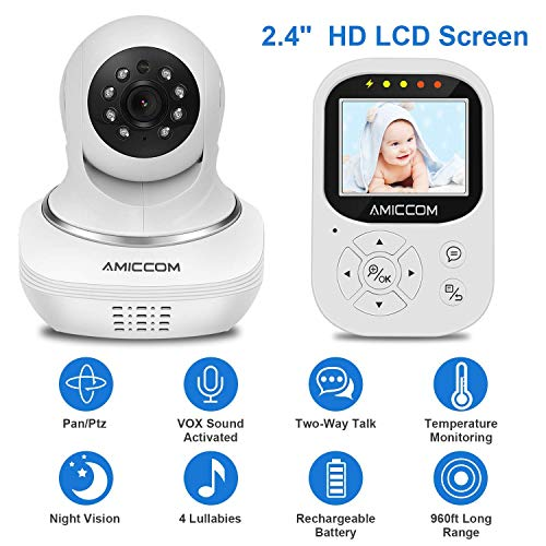 Baby Monitor, Video Baby Monitor 2.4 HD LCD Screen, Baby Monitors with Camera and Audio Night Vision,Support Multi Camera,ECO Mode,Two Way Talk Temperature Sensor,Built-in Lullabies white2