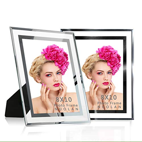 NUOLAN 8x10 Glass Picture Frame for Tabletop and Wall Hanging Photo Display,Nice Gifts for Family Friends Business,2 Pcs/Set ()