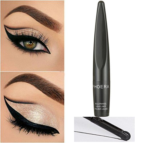Inverlee 2018 Easy to Makeup Beauty Black Roller Wheel Eyeliner Liquid Eye Liner Pen Waterproof Cosmetic (Black)